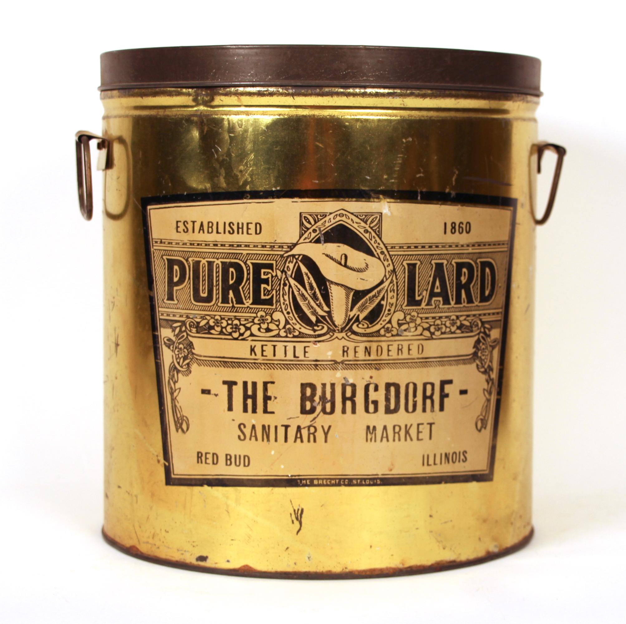 Burgorf Sanitary Market Lard Tin, Red Bud, IL 1920