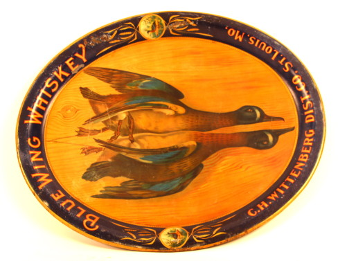 Blue Wing Whiskey Serving Tray, C.H. Wittenberg Distilling Co., St. Louis, MO. Circa 1905