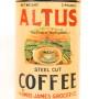 Altus Steel Cut Coffee Tin Can, Amos-James Grocer Co., St. Louis, MO. Circa 1910