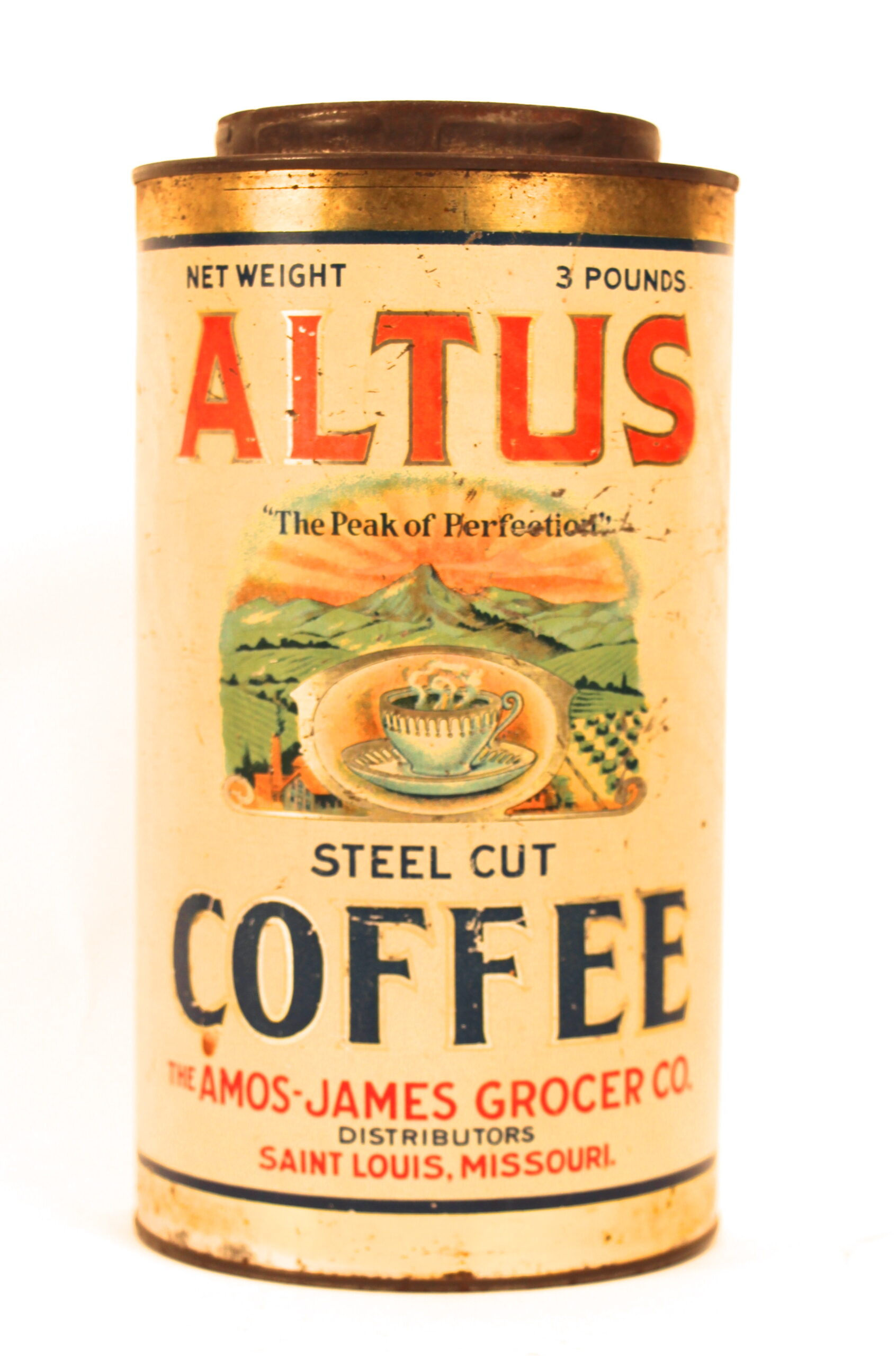 Altus Steel Cut Coffee Tin Can, Amos-James Grocer Co., St. Louis, MO. Circa 1910