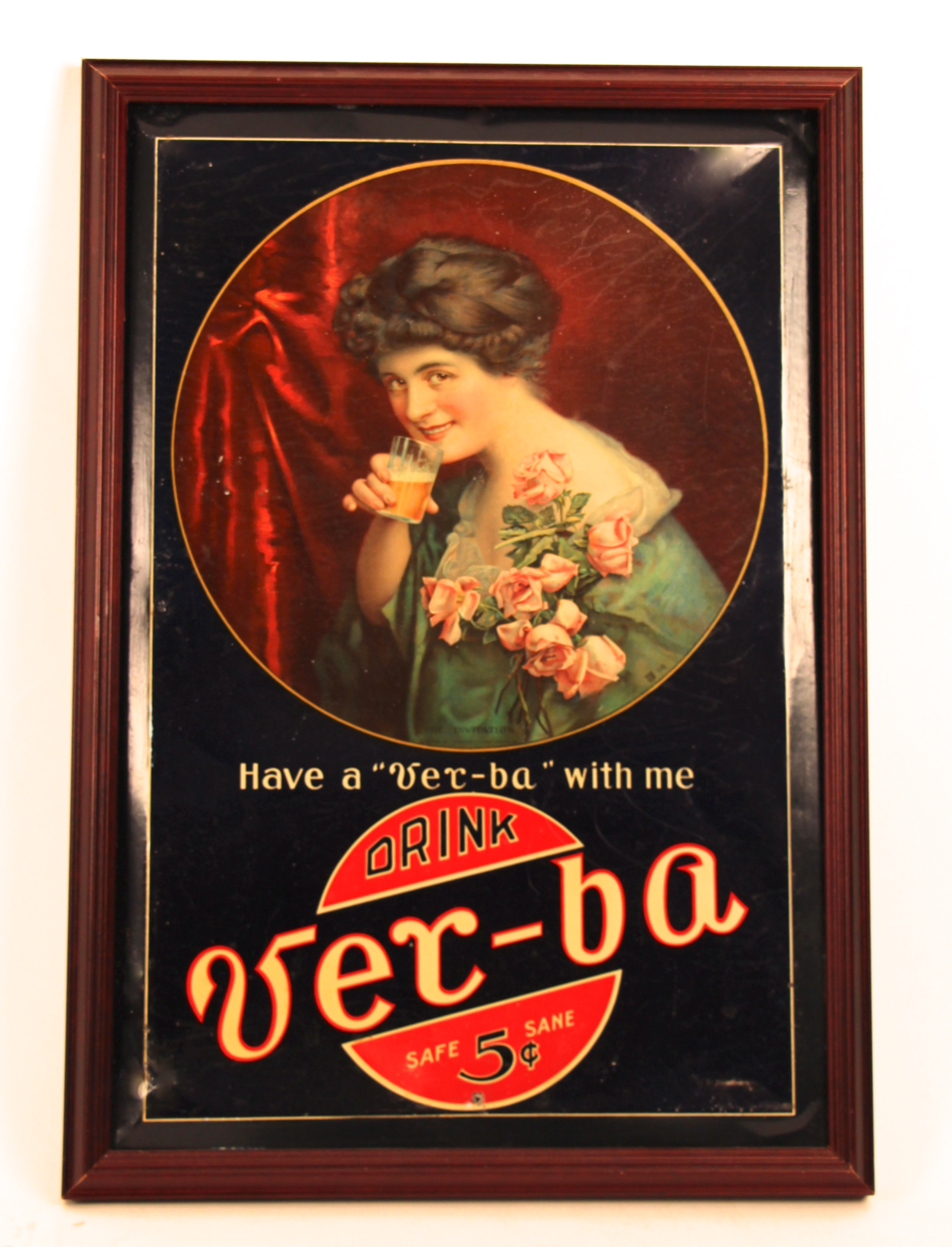 Ver-ba Safe Sane Soft Drink Tin Sign. Circa 19050