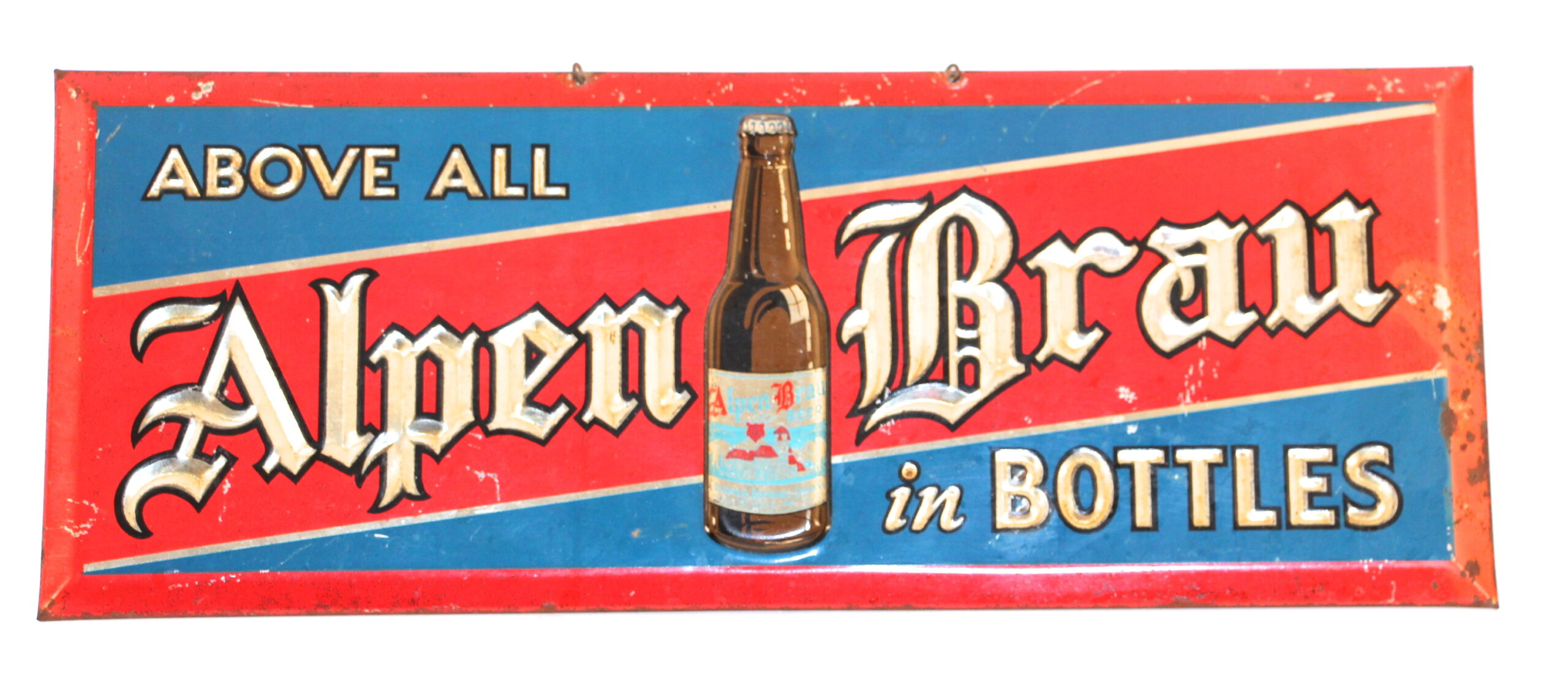 Alpen Brau Beer Tin over Cardboard Sign, Columbia Brewing Co., St. Louis, MO. Circa 1940