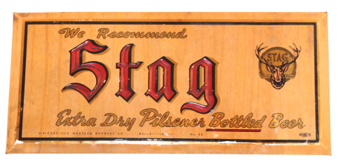 Stag Beer Tin over Cardboard Sign, Griesedieck Western Brewery Co., Belleville, IL. Circa 1933