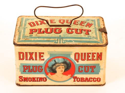 Dixie Queen Plug Cut Lunch Box Tobacco Tin. Circa 1910