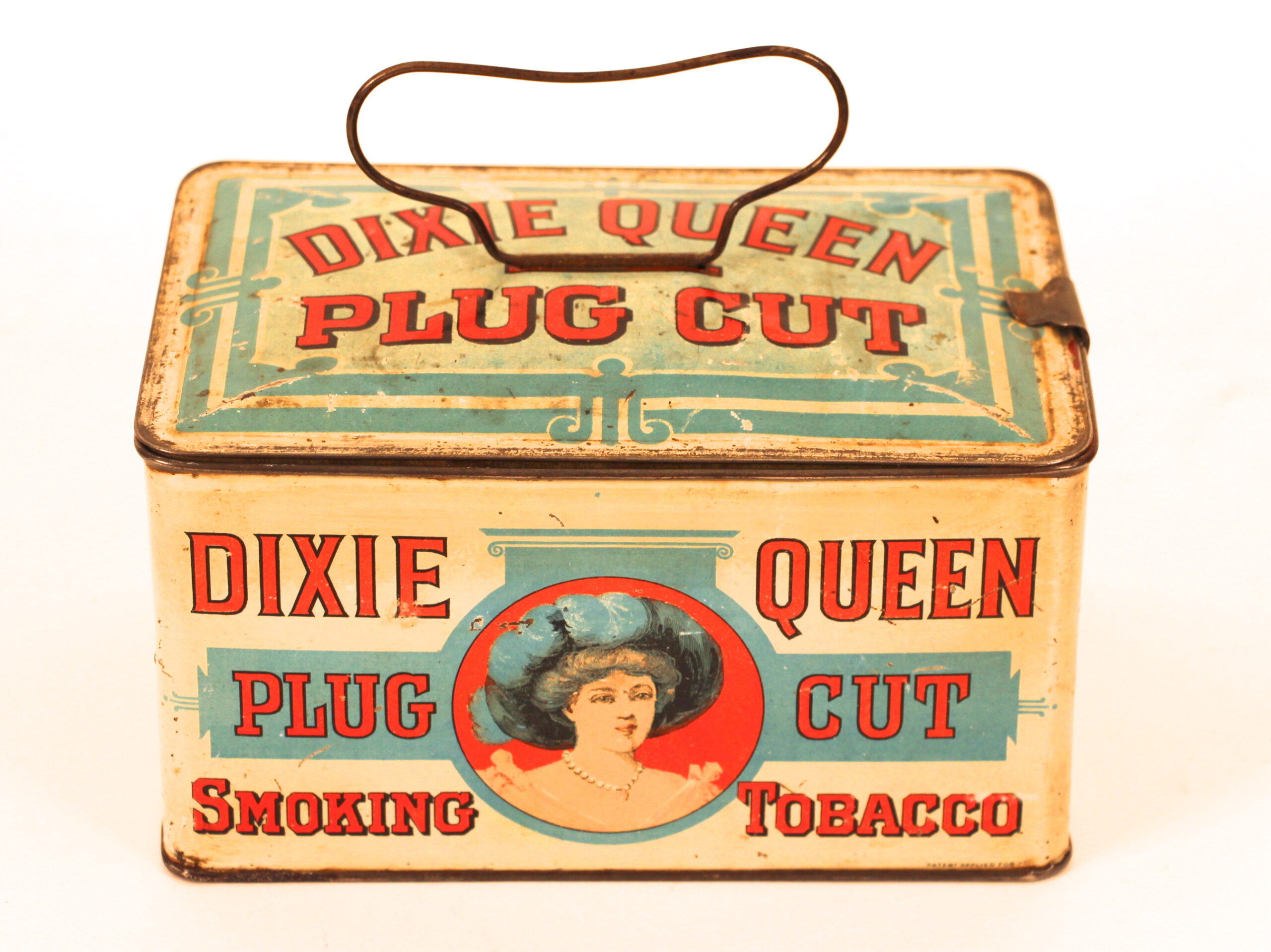 Dixie Queen Plug Cut Lunch Box Tobacco Tin. Circa 1910