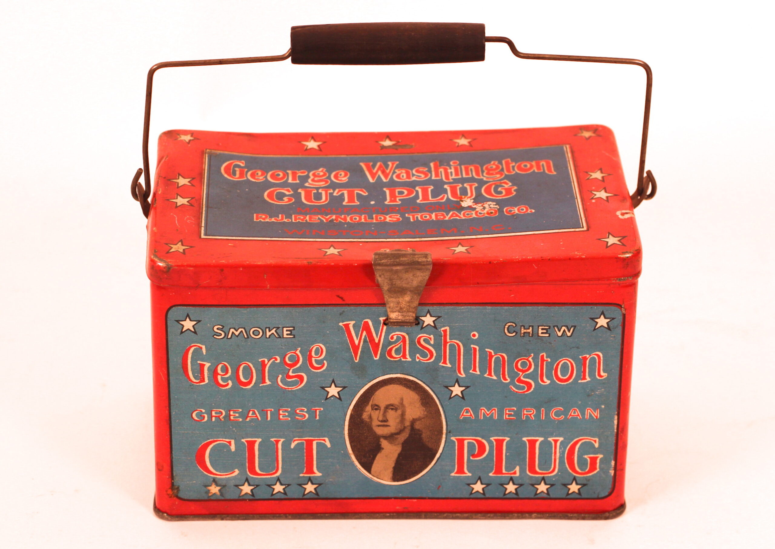 George Washington Cut Plug Lunch Box Tobacco Tin. Circa 1910