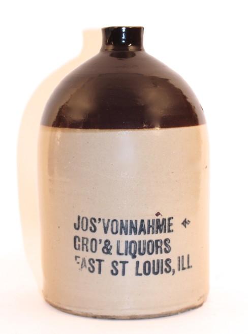 Jos. Vonnahme Grocery & Liquors Stoneware Whiskey Jug, E. St. Louis, IL. Circa 1890