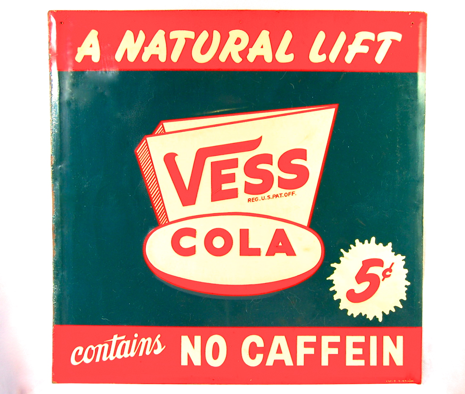 Vess Cola No Caffein Tin Sign, Vess Soda Co., St. Louis, MO. Circa 1945