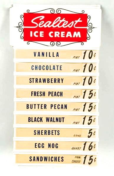Sealtest Ice Cream Menu Board. Circa 1950