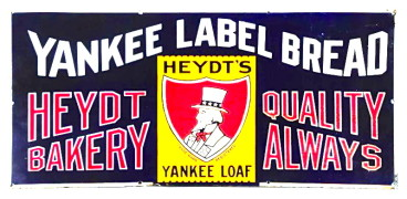 Heydt's Yankee Label Bread Porcelain Sign, Heydt Bakery Co, St. Louis, MO.   Circa 1910