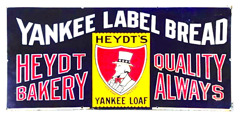 Heydt Bakery Yankee Level Bread Porcelain Sign, Heydt Baking Co., St. Louis, MO. Circa 1910
