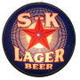 S-K Lager Beer Reverse on Glass Light, Schorr Kolkschneider Brewing Co., St. Louis, MO. Circa 1915