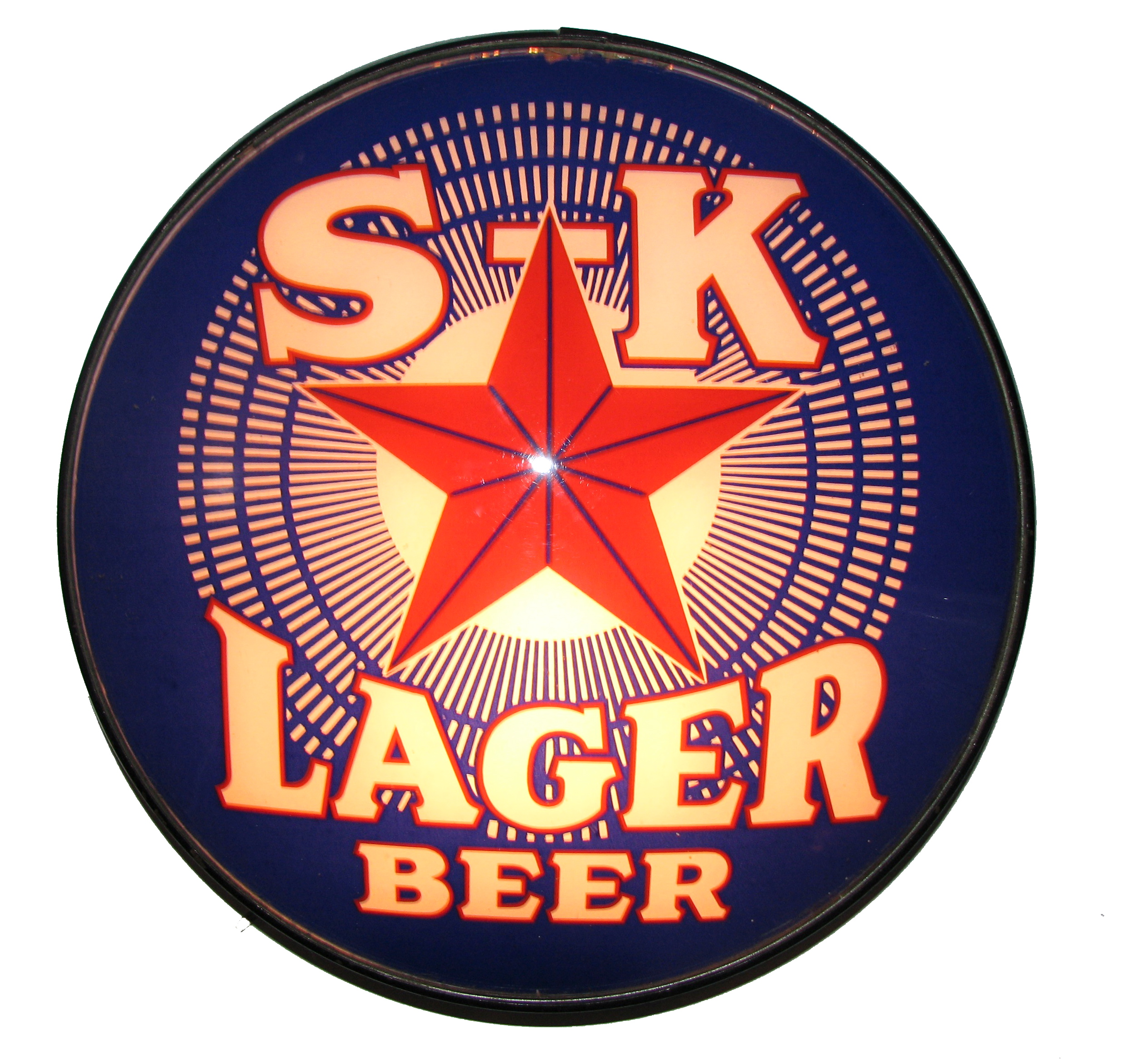 S-K Lager Beer Reverse on Glass Light, Schorr Kolkschneider Brewing Co., St. Louis, MO. Circa 1915