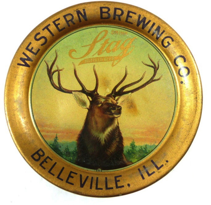 Western Brewing Co. Stag Beer Tip Tray, Belleville, IL. Circa 1910