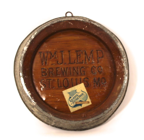 Lemp Brewing Co, Self Framed Tin Barrel Sign, St. Louis, MO