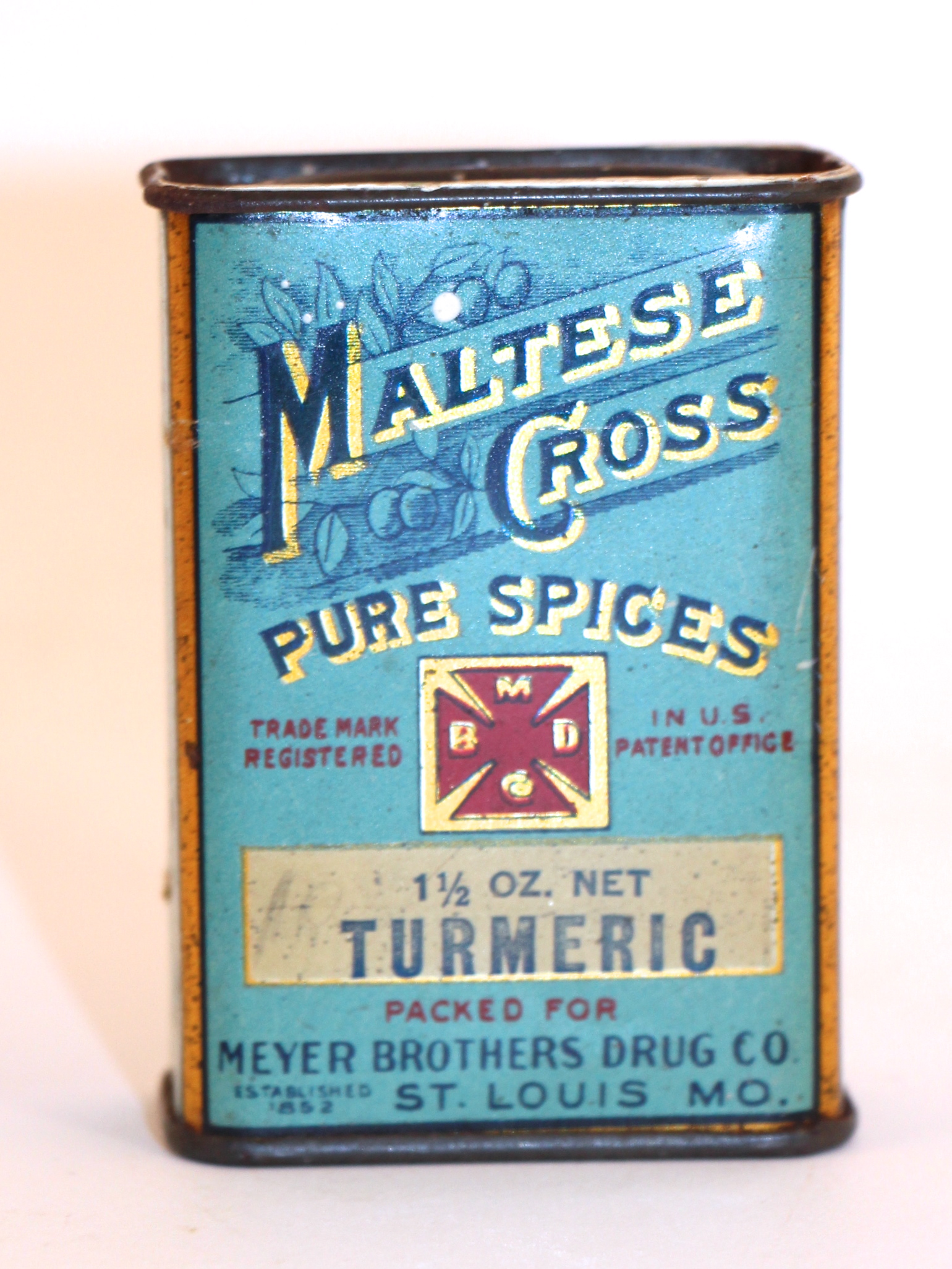 Maltese Cross Pure Spice Tin, Meyer Brothers Drug Co., St. Louis, MO