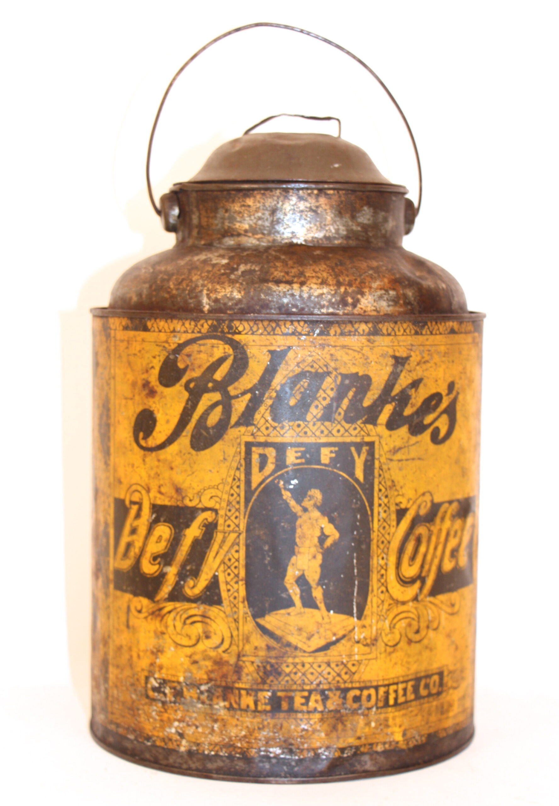 Blanke's Defy Coffee Tin, C. F. Blanke Coffee Co., St. Louis, MO
