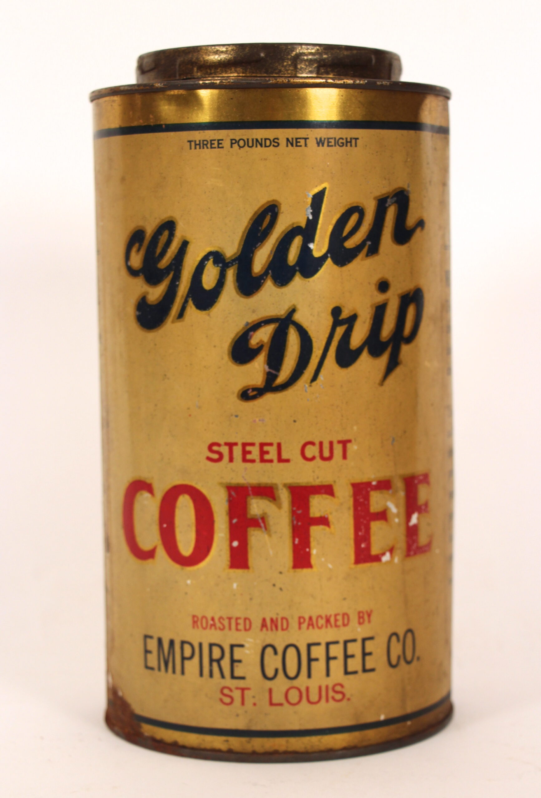 Golden Drip Coffee Tin, Empire Coffee Co., St. Louis, MO 1910