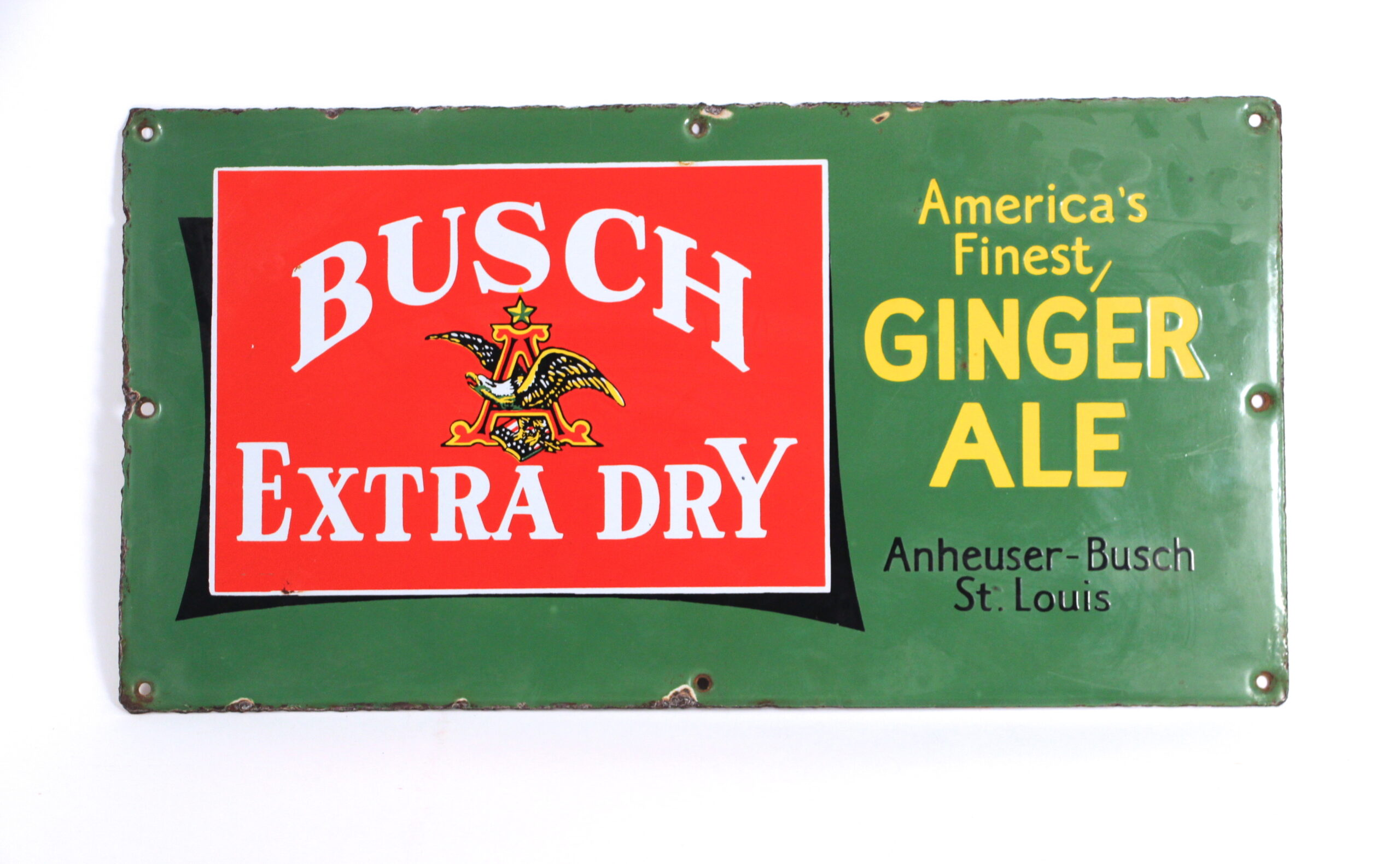 Anheuser-Busch Busch Extra Dry Porcelain Ginger Ale Sign