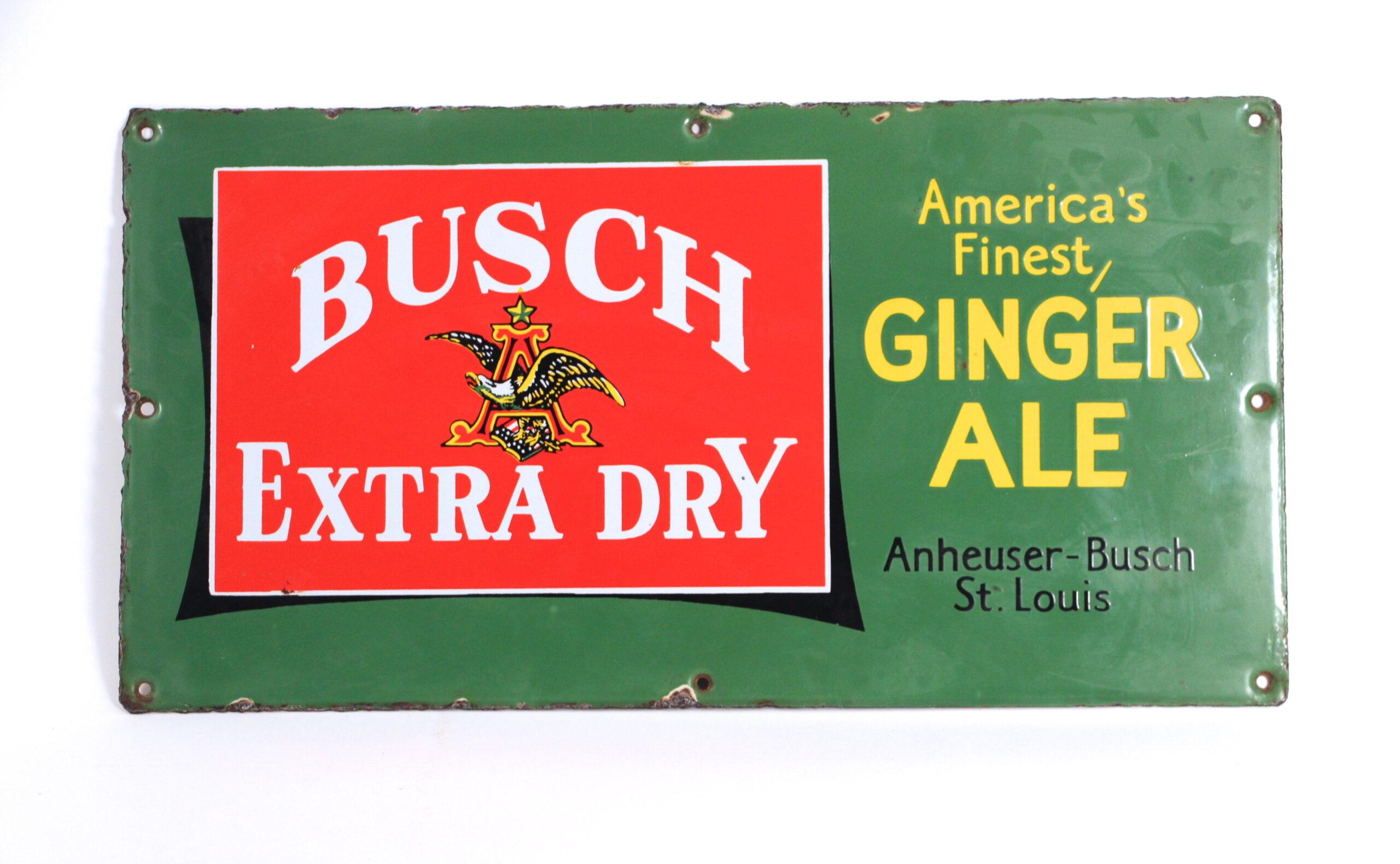 Anheuser-Busch Busch Extra Dry Porcelain Ginger Ale Sign
