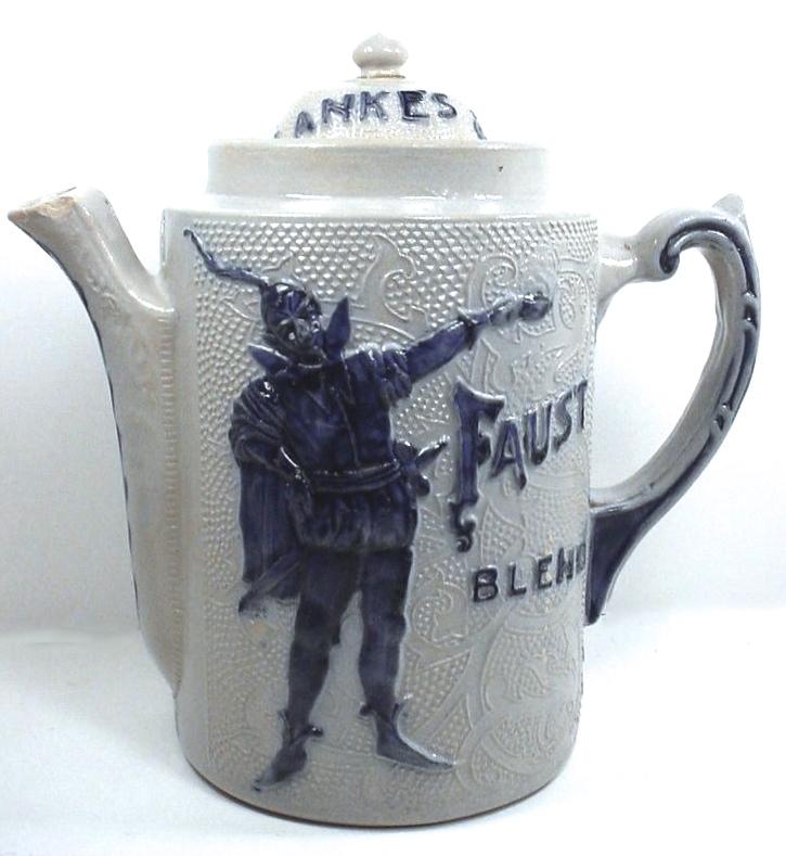 Blanke Faust Stoneware Coffe Pot, Blanke Coffee & Tea Co., St. Louis, MO. Circa 1910