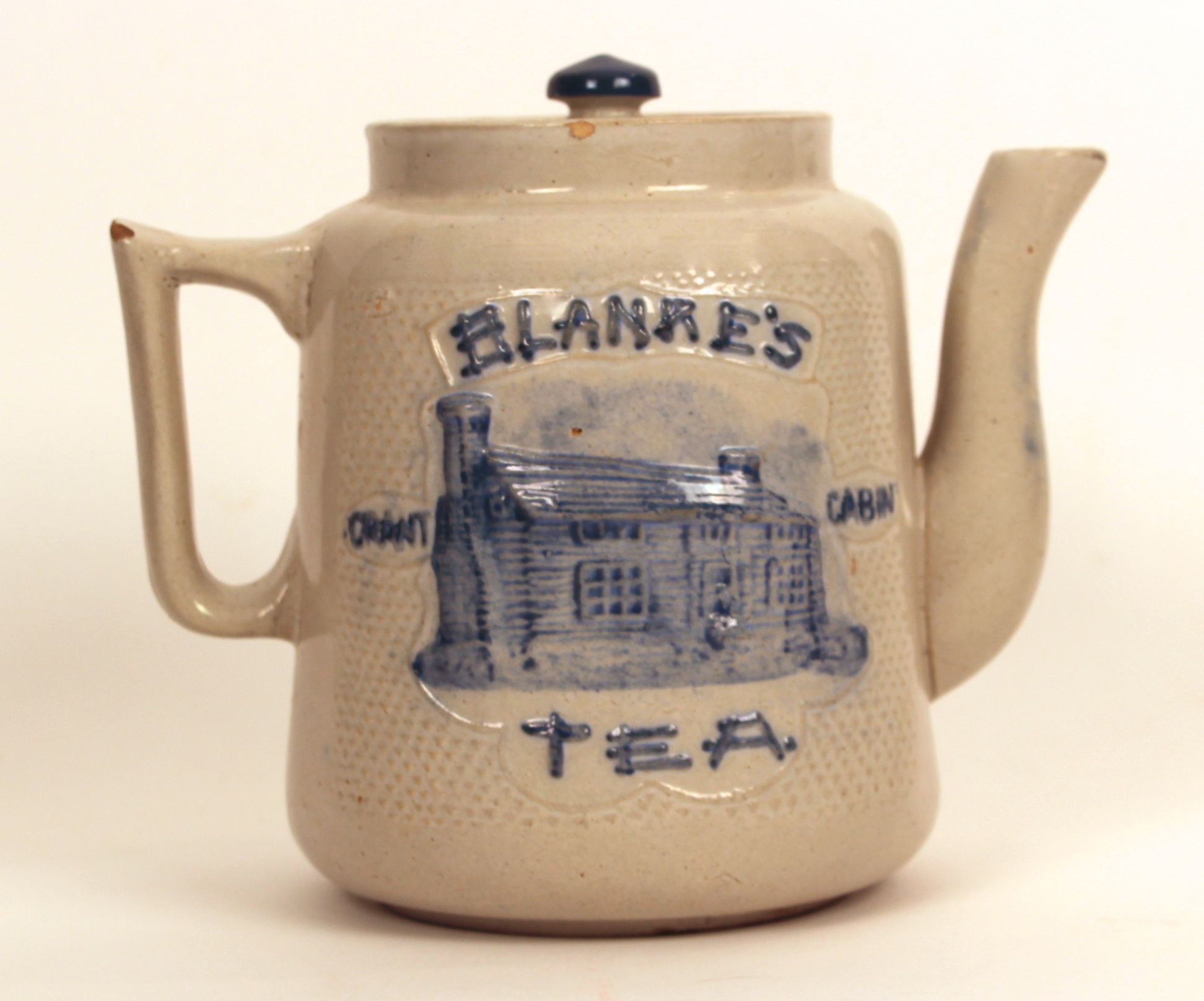 Wonderful image of Blanke's Log Cabin Stoneware Tea Pot C. F. Blanke Tea & Coffee Co  with #A1762A color and 1944x1617 pixels
