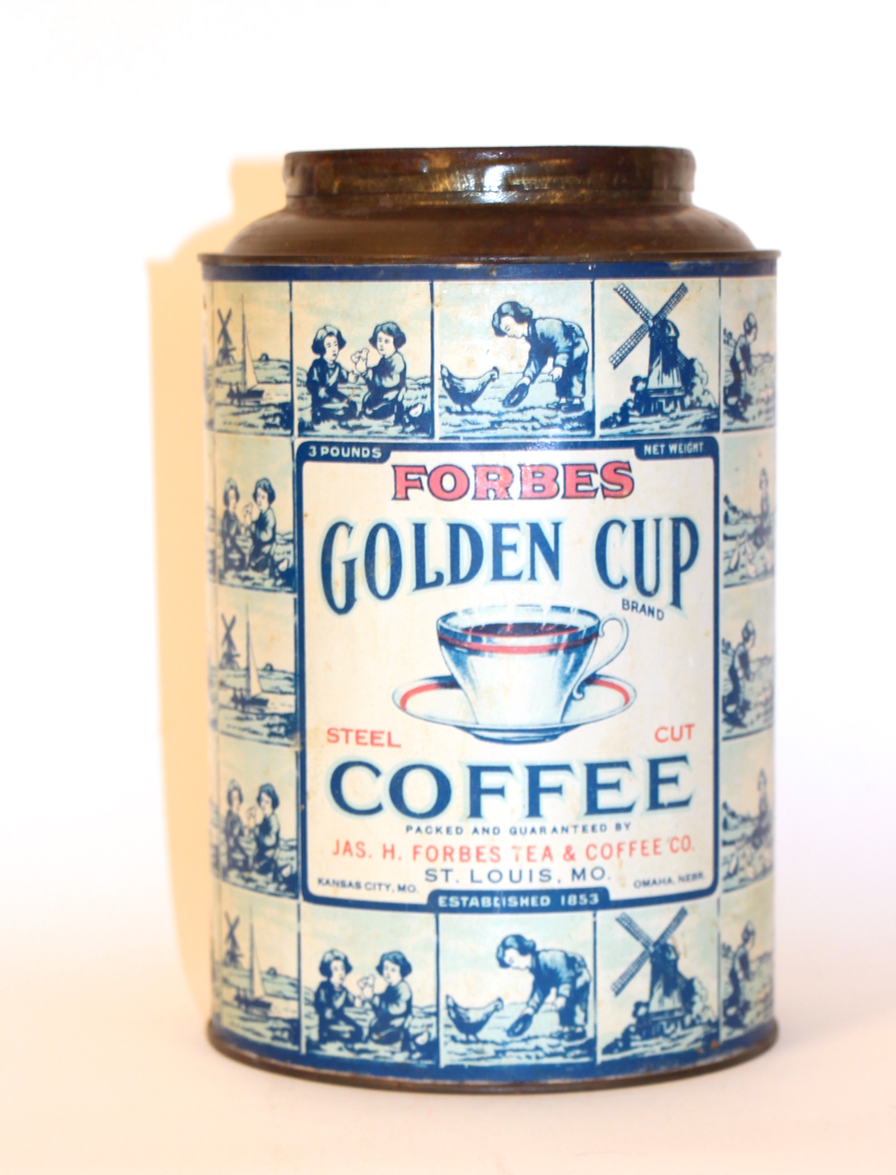 Jas H. Forbes Coffee Co. Golden Cut Metal Coffee Can