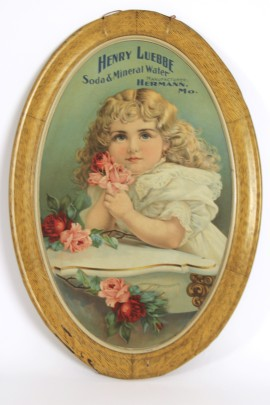Henry Luebbe Soda & Mineral Waters Self-Framed Tin Sign, Hermann, MO. 1890