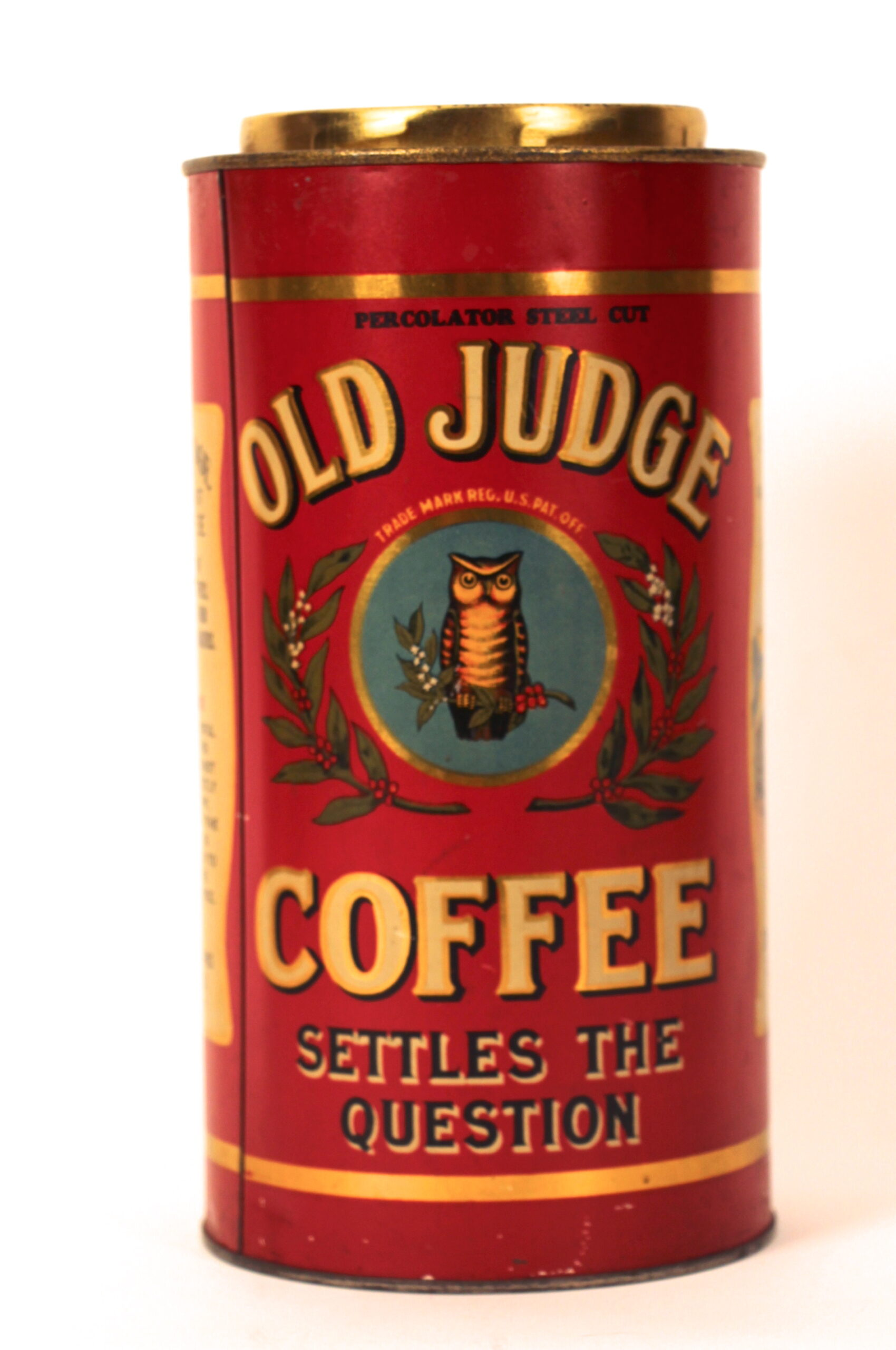 Old Judge Coffee Tin Can, David Evans Coffee Co., St. Louis, MO