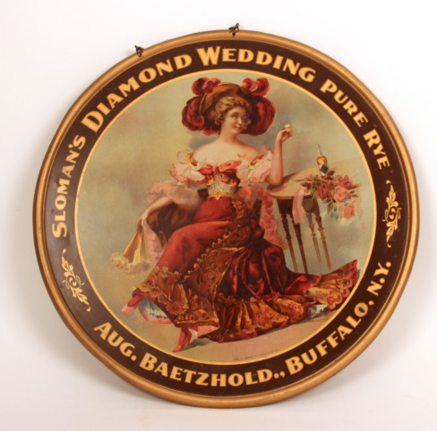 Sloman's Diamond Wedding Pure Rye Whiskey Sign, Aug. Baetshold, Buffalo, NY