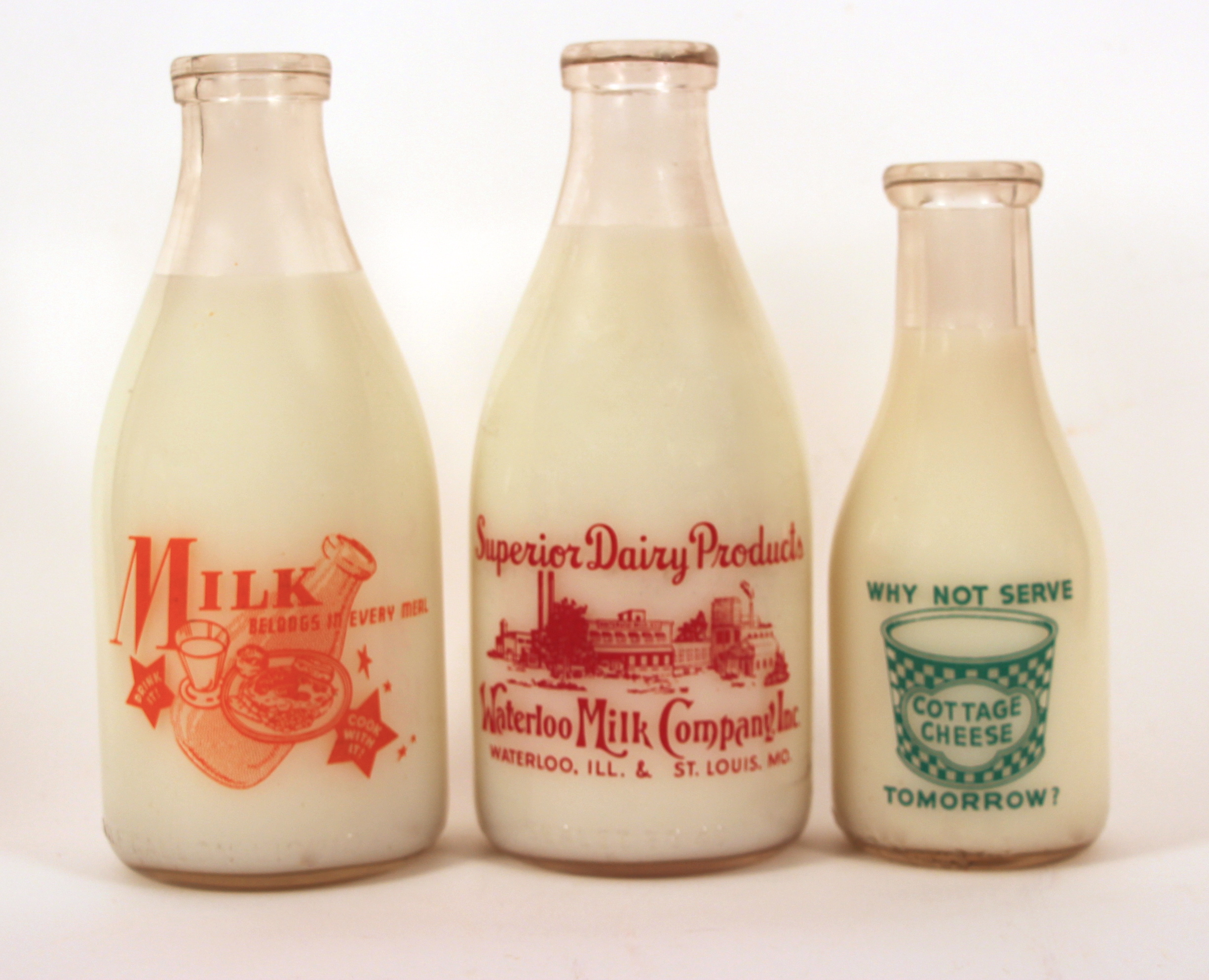 """Waterloo Milk Co. Vintage Milk Bottles """"Milk Belongs in Every Meal"""""""