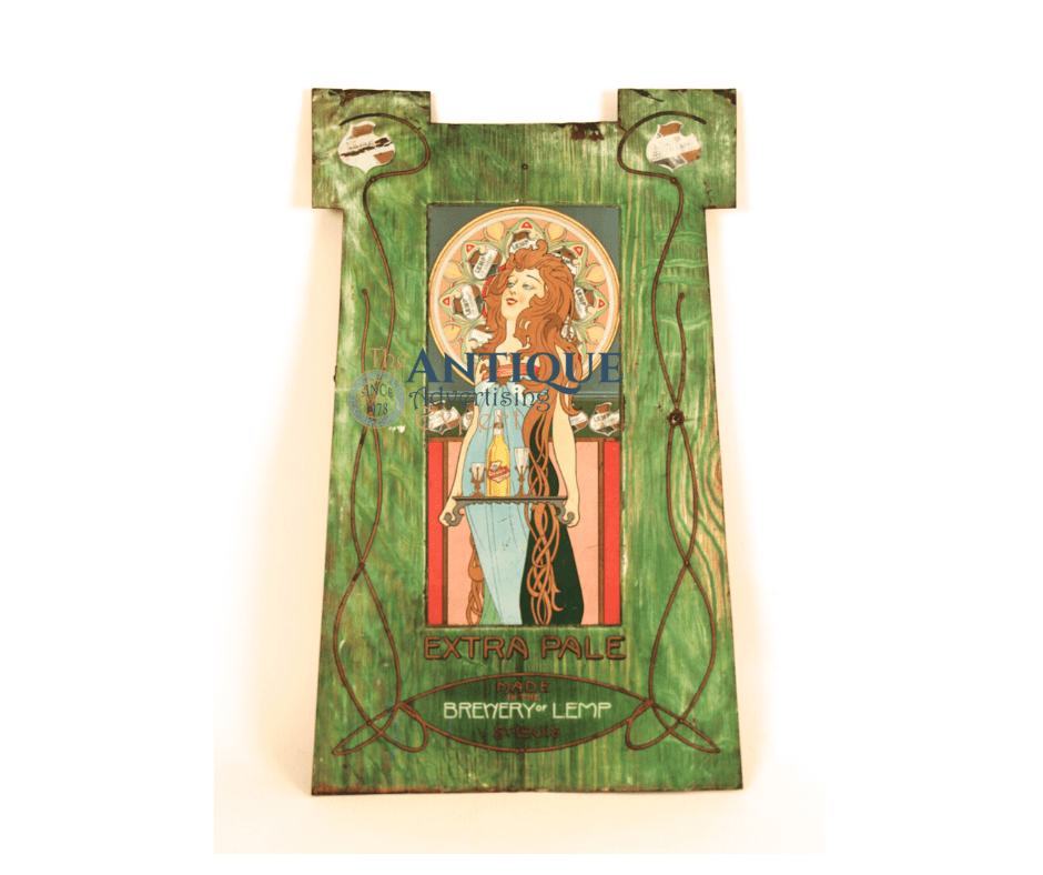 Lemp Brewery Beer Art Nouveau Extra Pale Sign St Louis, MO 1900