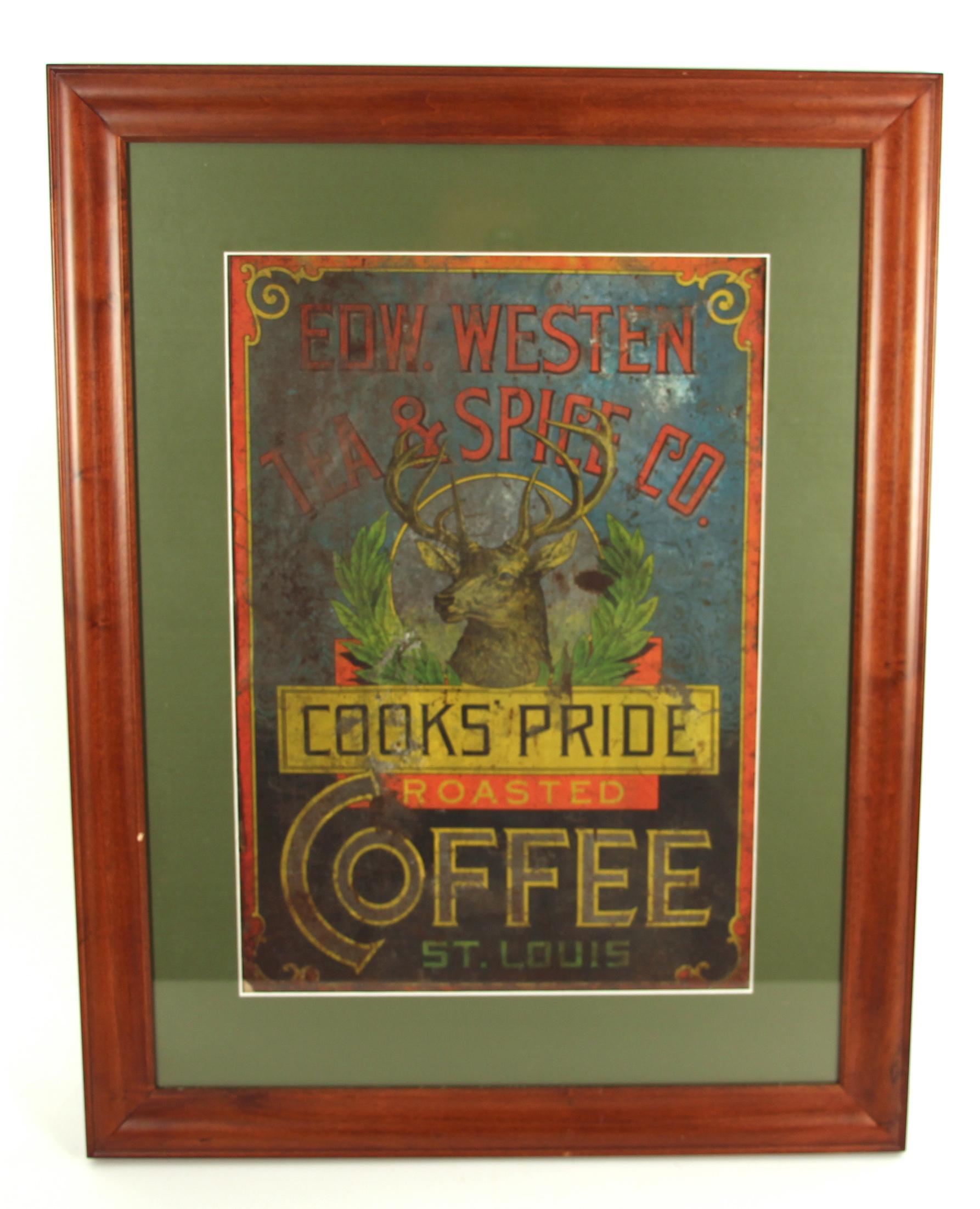 Edward Westen Tea & Spice Co. Tin Sign, Cook's Pride Coffee, St. Louis, MO. Circa 1900