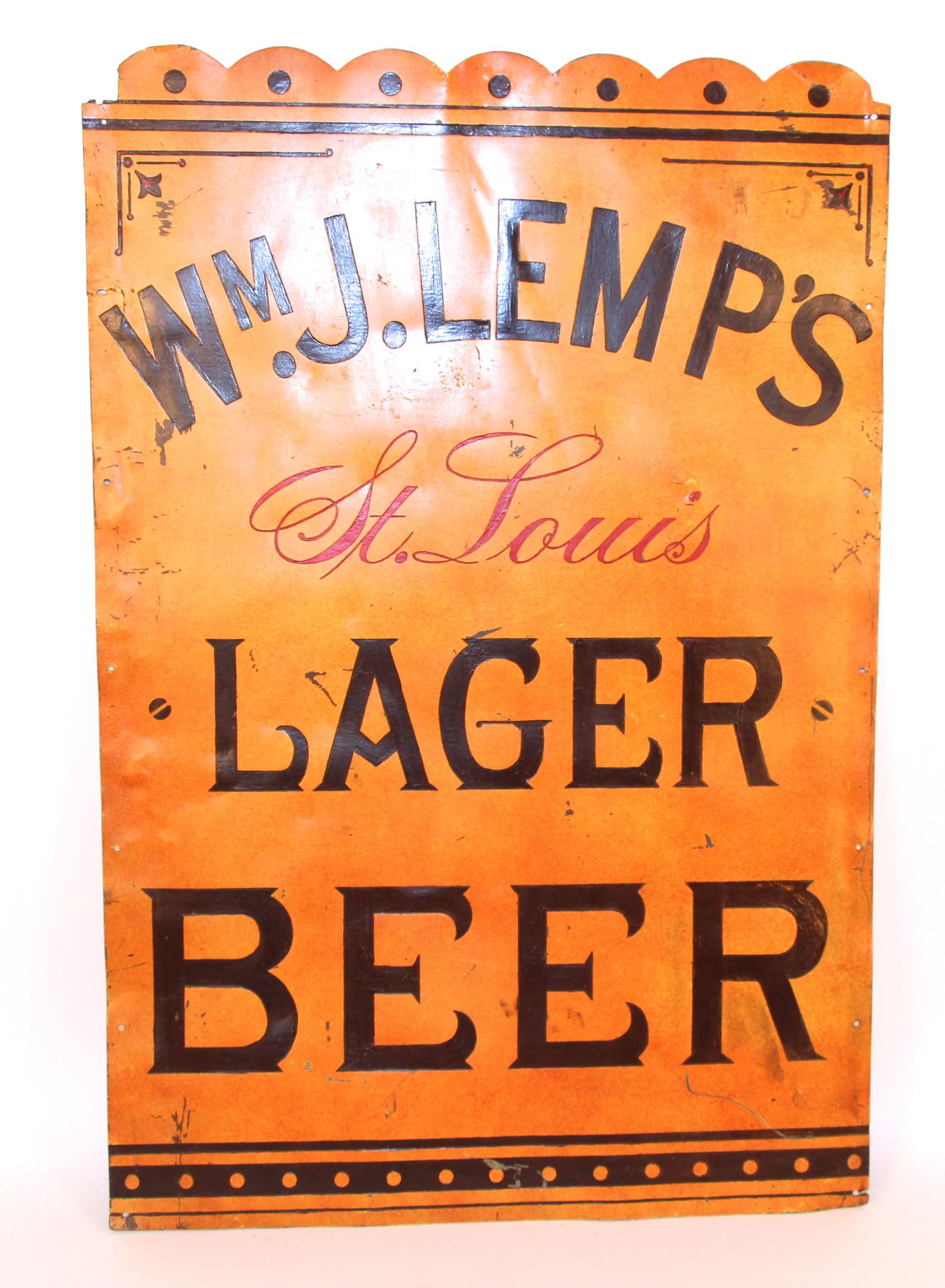 Wm. J. Lemp Brewing Co. Lager Beer, Metal Sign, St. Louis, MO. Circa 1885