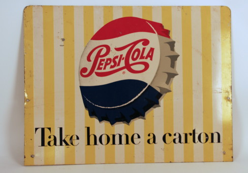 Pepsi-Cola Porcelain Sign, 1950's