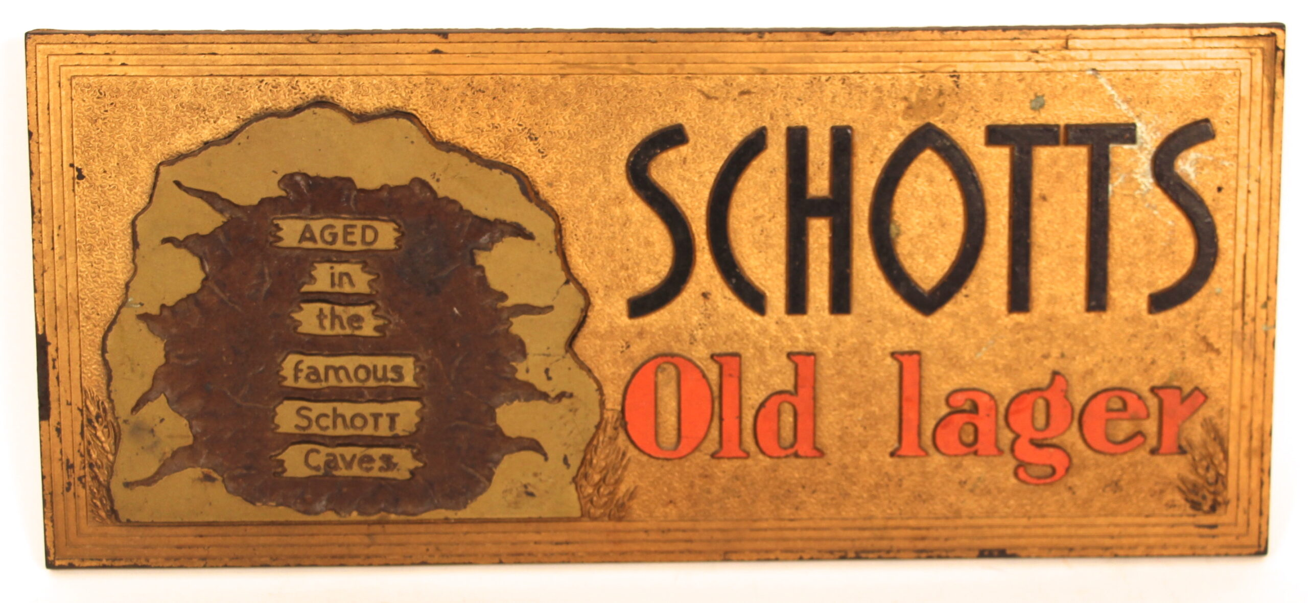 Schotts Old Lager Meyercord Beer Sign, Schott Brewing Co, Highland, IL. Circa 1930's