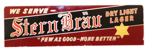 Stern Brau Reverse on Glass Sign, Star Peerless Brewing Co, Belleville, IL. Circa 1940's