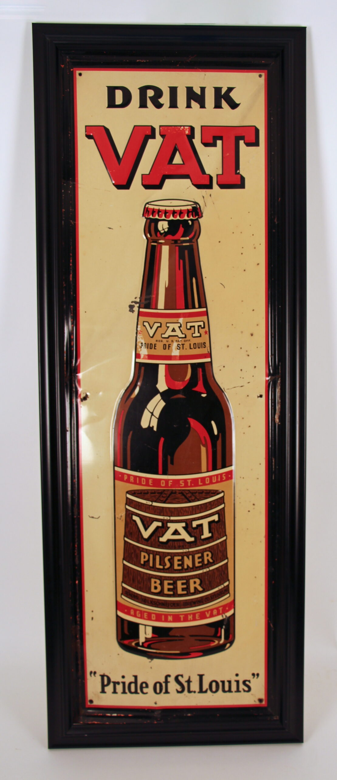 Drink Vat Pilsener Beer Tin Sign, Schorr-Kolkschneider Brewing Co, St. Louis, MO. Circa 1935