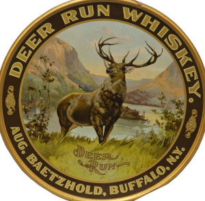 Baetzhold's Deer Run Whiskey Tin Sign, 1910