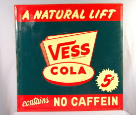 Vess Cola Embossed Tin Sign, Circa 1950's
