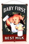 Pevely Dairy Baby First Porcelain Sign, St. Louis, MO.   Circa 1915