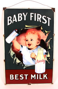 Pevely Dairy Baby First Porcelain Sign, 1915