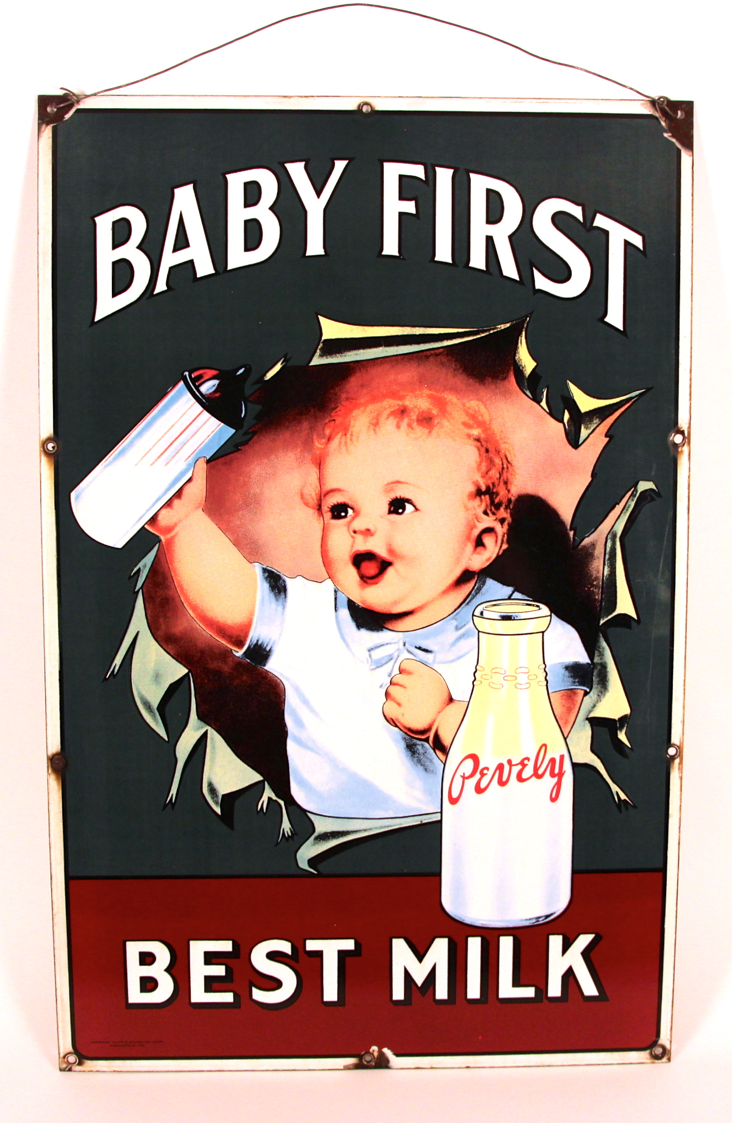 Pevely Dairy Baby First Porcelain Sign 1915