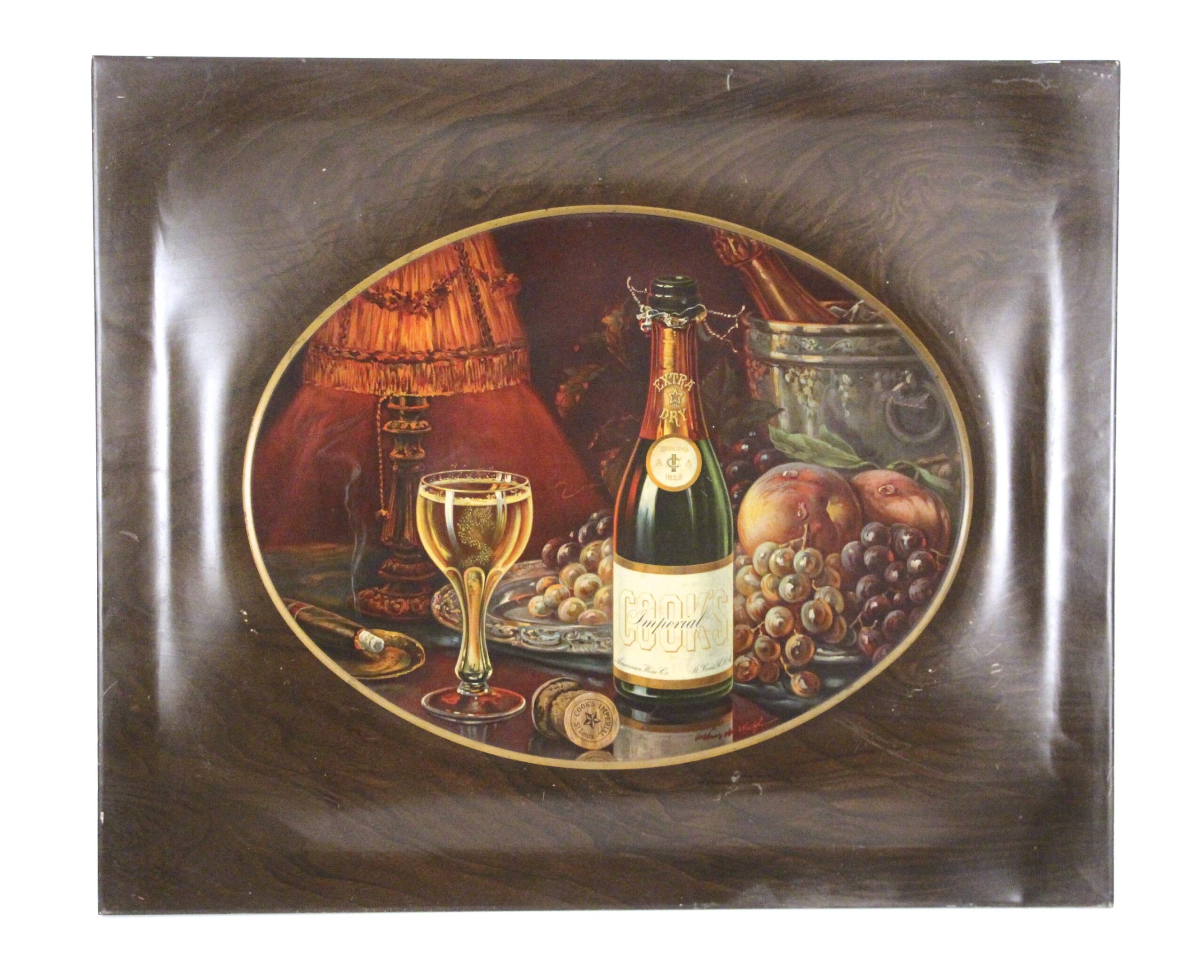 Cook's Champagne Slef Framed Tin Sign, St. Louis, MO. Circa 1900