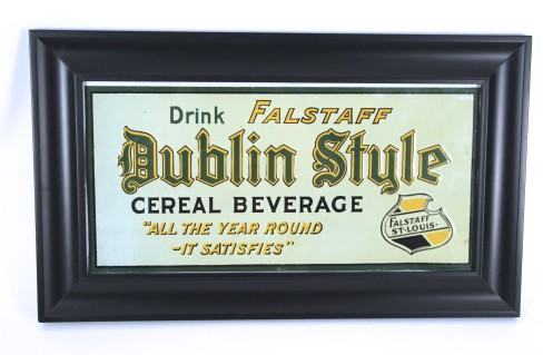 Falstaff Beer Dublin Style Cereal Beverage Tin Sign, St. Louis, MO. Circa 1920