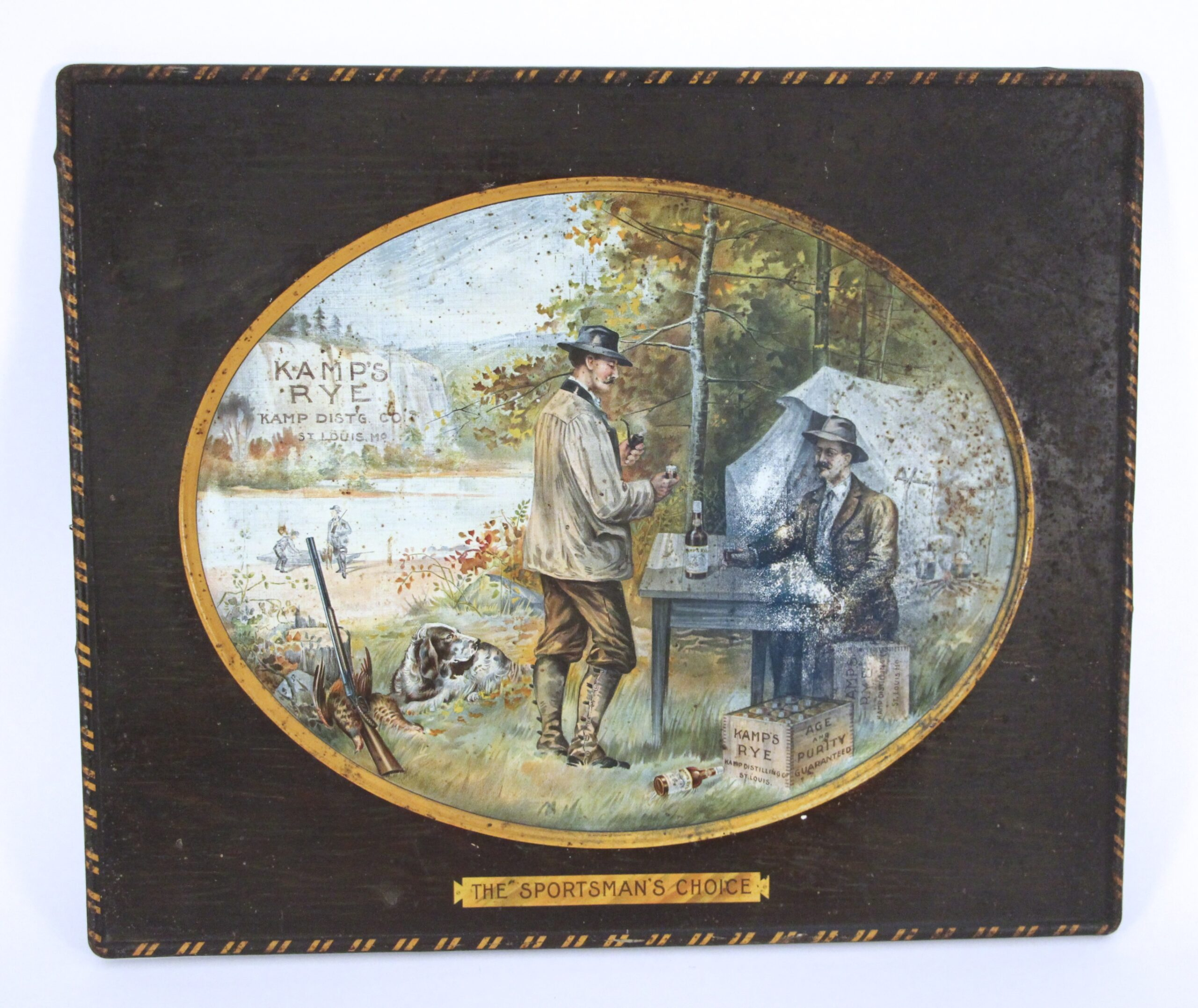 Kamp's Distilling Co, St. Louis, MO. Rye Self Framed Tin Sign. Circa 1900