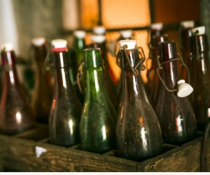 Antique Beer Bottles With Wire Bailed Tops