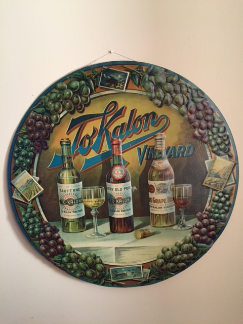 ToKalon Vineyard Embossed Sign, Oakville, CA 1884
