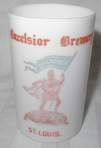 Excelsior Brewing Co. Milk Glass Beer Glass
