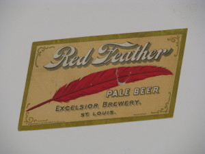 Excelsior Brewing Co. Red Feather Beer Bottle Label, Circa 1900